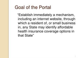 Goal of the Portal