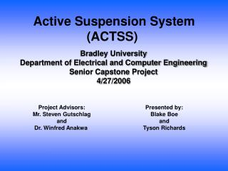 Bradley University Department of Electrical and Computer Engineering Senior Capstone Project