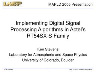 Implementing Digital Signal Processing Algorithms in Actel's RT54SX-S Family