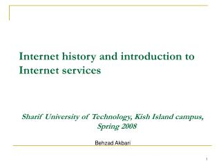 Internet history and introduction to Internet services