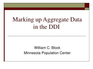 Marking up Aggregate Data in the DDI