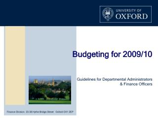 Budgeting for 2009/10