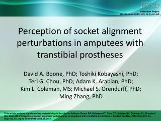 Perception of socket alignment perturbations in amputees with transtibial prostheses