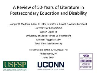 A Review of 50-Years of Literature in Postsecondary Education and Disability