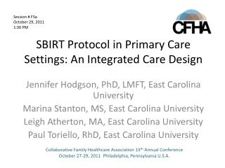 SBIRT Protocol in Primary Care Settings: An Integrated Care Design