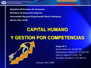 CAPITAL HUMANO Y GESTION POR COMPETENCIAS