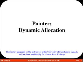 Pointer:   Dynamic Allocation