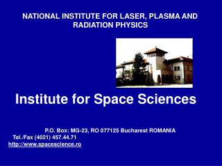 NATIONAL INSTITUTE FOR LASER, PLASMA AND RADIATION PHYSICS