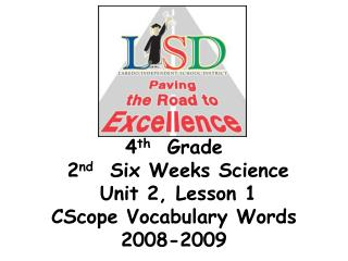 4 th   Grade   2 nd   Six Weeks Science  Unit 2, Lesson 1  CScope Vocabulary Words 2008-2009
