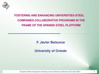 F. Javier Belzunce University of Oviedo