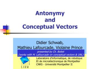 Antonymy  and  Conceptual Vectors