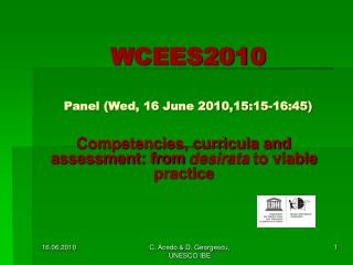 WCEES2010 Panel (Wed, 16 June 2010,15:15-16:45)