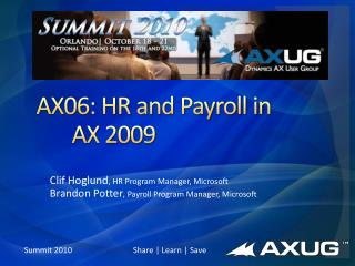 AX06: HR and Payroll in 		AX 2009