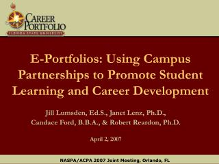 E-Portfolios: Using Campus Partnerships to Promote Student Learning and Career Development