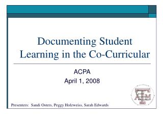 Documenting Student Learning in the Co-Curricular