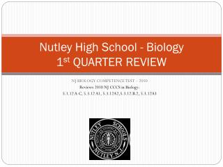 Nutley High School - Biology 1 st  QUARTER REVIEW