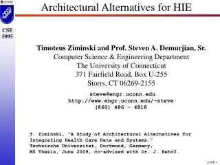 Architectural Alternatives for HIE