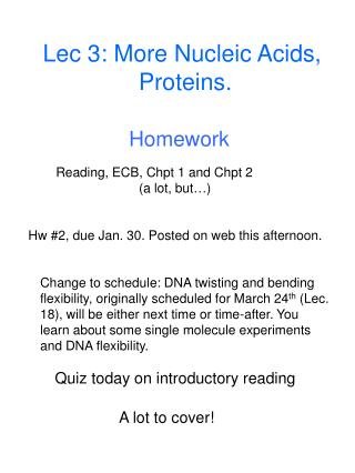 Lec 3: More Nucleic Acids,  Proteins.