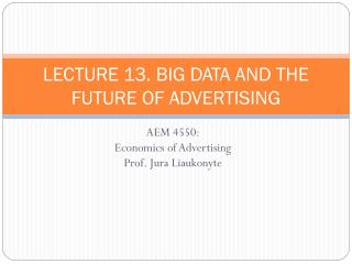 LECTURE 13. BIG DATA AND THE FUTURE OF ADVERTISING