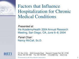 Factors that Influence Hospitalization for Chronic Medical Conditions