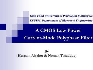 A CMOS Low Power  Current-Mode Polyphase Filter