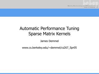 Automatic Performance Tuning Sparse Matrix Kernels