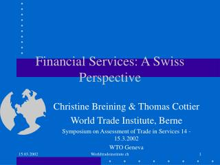 Financial Services: A Swiss Perspective
