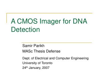 A CMOS Imager for DNA Detection