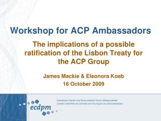 Workshop for ACP Ambassadors