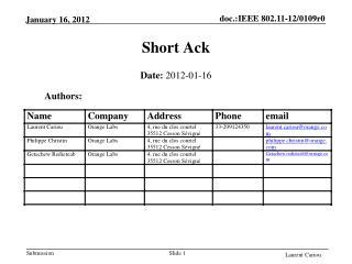 Short Ack
