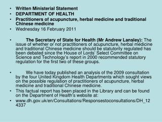 Written Ministerial Statement DEPARTMENT OF HEALTH
