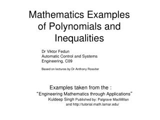 Mathematics Examples of Polynomials and  Inequalities