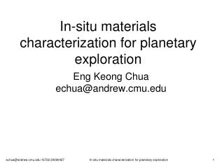 In-situ materials characterization for planetary exploration