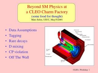 Beyond SM Physics at   a CLEO Charm Factory (some food for thought) Mats Selen, UIUC, May/5/2001
