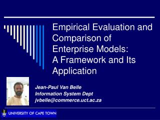 Empirical Evaluation and Comparison of Enterprise Models:  A Framework and Its Application