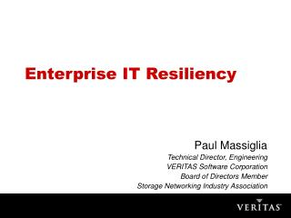 Enterprise IT Resiliency