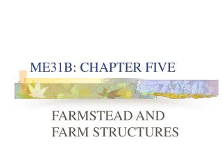 ME31B: CHAPTER FIVE