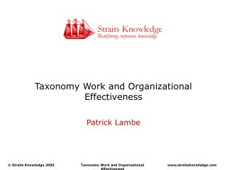 Taxonomy Work and Organizational Effectiveness
