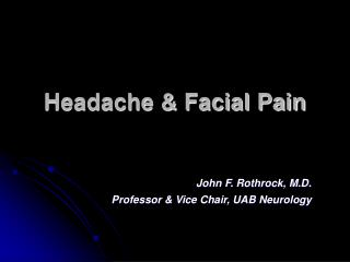 Headache & Facial Pain