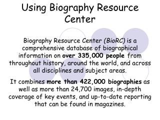 Using Biography Resource Center