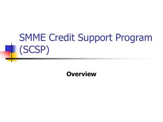SMME Credit Support Program (SCSP)