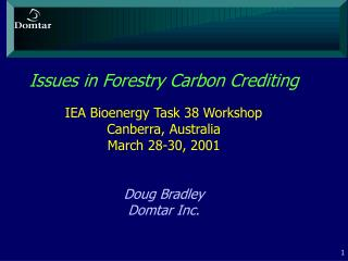Issues in Forestry Carbon Trading
