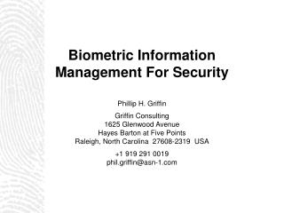 Biometric Information  Management For Security