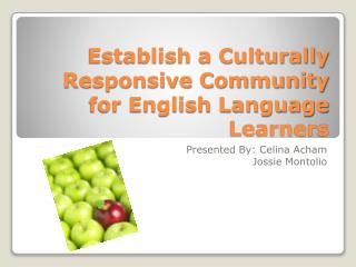 Establish a Culturally Responsive Community for English Language Learners