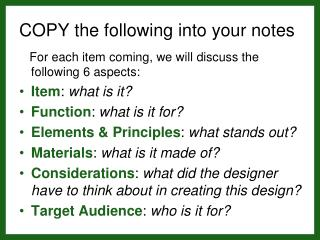 COPY the following into your notes