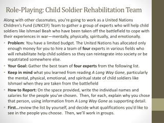 Role-Playing: Child Soldier Rehabilitation Team