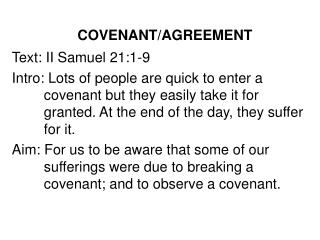 COVENANT/AGREEMENT