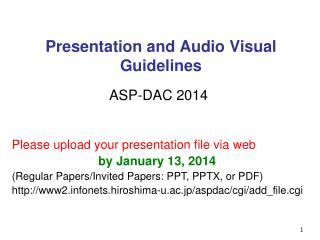 Presentation and Audio Visual Guidelines