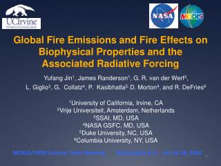 Global Fire Emissions and Fire Effects on Biophysical Properties and the Associated Radiative Forcing