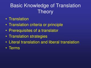 Basic Knowledge of Translation Theory